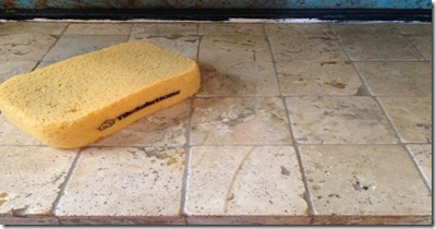 Cleaned excess grout off of stone tile