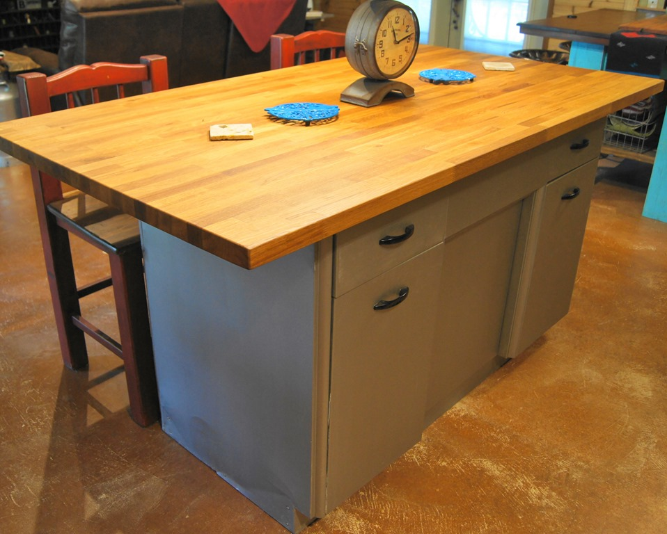 rusty metal cabinet turned into butcher block island. Black Bedroom Furniture Sets. Home Design Ideas
